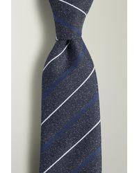 Moss London Navy, Blue & White Stripe Textured Tie