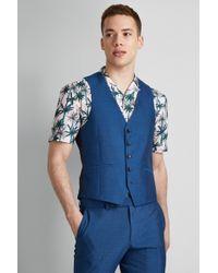 Moss London Skinny Fit Peacock Waistcoat - Blue
