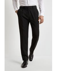 Moss Esq. - Ire Regular Fit Machine Washable Black Single Pleat Front Trousers With Stretch - Lyst