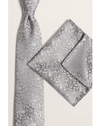 Moss London Silver Lotus Floral Tie & Hank Set - Multicolour