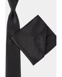 Moss London - Black Metallic Tie & Pocket Square Set - Lyst