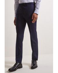 Moss Bros Slim Fit Ink Herringbone Tweed Pants - Blue