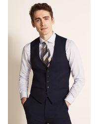 Ted Baker Slim Fit Navy Twill Waistcoat - Blue
