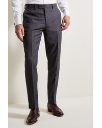Ted Baker Tailored Fit Grey Lilac Check Pants - Gray