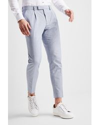 Moss London Slim Fit Blue & White Stripe Linen Blend Single Pleat Cropped Trouser