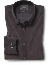 Moss London Slim Fit Brown Cord Shirt - Multicolour