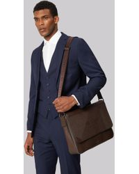 Ted Baker - Chocolate Embossed Messenger Bag - Lyst