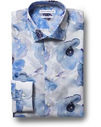 French Connection - Slim Fit Blue Single Cuff Floral Shirt - Lyst