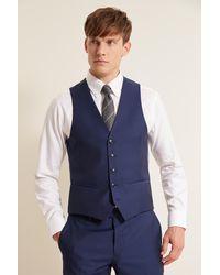 DKNY Slim Fit Blue Sharkskin Waistcoat