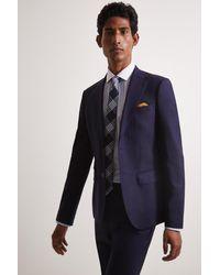 Moss Bros Skinny/slim Fit Ink Herringbone Tweed Jacket - Blue