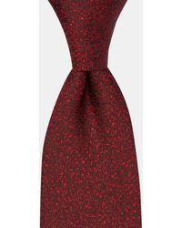 DKNY Burgundy Small Tonal Floral Silk Tie - Red