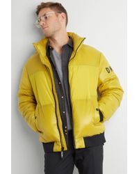 DKNY - Slim Fit Yellow Quilted Puffer Jacket - Lyst