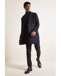 Moss London Slim Fit Navy Double Breasted Double Faced Overcoat - Blue