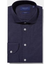 Hardy Amies - Tailored Fit Navy Single Cuff Melange Shirt - Lyst
