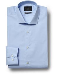 Moss London Slim Fit Sky Stretch Shirt - Blue