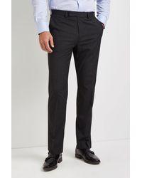 Moss Esq. Regular Fit Charcoal Stretch Trousers - Grey
