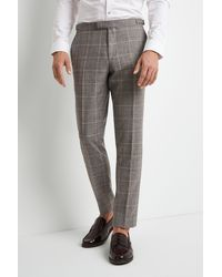 Moss Bros Skinny Fit Grey Clementine Check Trousers