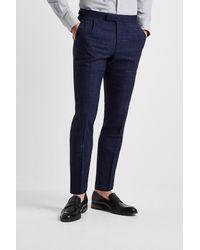 Moss Bros Slim Fit Blue Scratch Check Pants