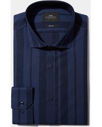 Moss London Skinny Fit Navy Single Cuff Stripe Shirt - Blue