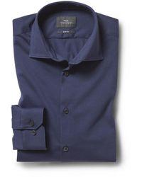 Moss London Slim Fit Navy Comfort Stretch Shirt - Blue