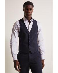DKNY Slim Fit Navy Stripe Jacket - Blue