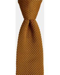 Moss London - Mustard Knitted Skinny Tie - Lyst