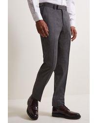 Moss Bros Slim Fit Charcoal Herringbone Tweed Trousers - Grey