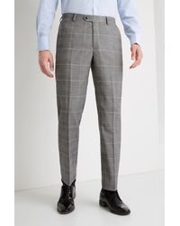 Moss Esq. Regular Fit Black And White Check Trousers