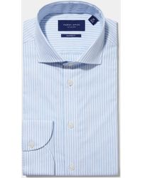 Hardy Amies - Tailored Fit Sky Single Cuff Melange Stripe Shirt - Lyst