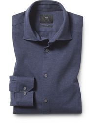 Moss London Slim Fit Navy Knit Shirt - Blue