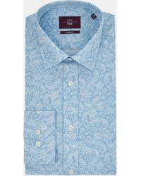 Moss Esq. - Regular Fit Blue Single Cuff Paisley Print Shirt - Lyst