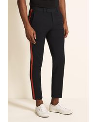 Moss London Slim Fit Navy With Red Side Stripe Cropped Pants - Blue