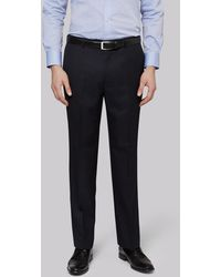 Moss Esq. Regular Fit Plain Navy Suit Trousers - Blue