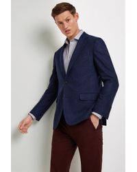 Ermenegildo Zegna Tailored Fit Blue Semi Plain Jacket