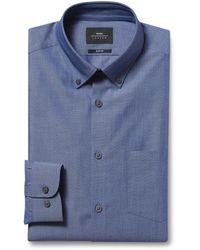 Moss London Slim Fit Blue Single Cuff Button Down Chambray Shirt