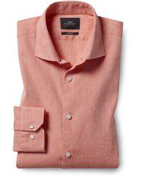 Moss London Slim Fit Coral Linen Stretch Shirt - Pink