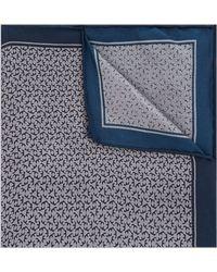 Hardy Amies - Navy & Grey Geo Silk Pocket Square - Lyst