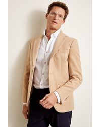 Moss London Slim Fit Camel Quilted Lined Jacket - Natural