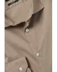 Moss London Slim Fit Camel Single Cuff Stretch Shirt - Natural