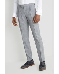 Moss Bros Skinny Fit Black And White Blue Check Trousers