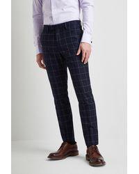 Moss London Slim Fit Boucle Windowpane Pants - Blue