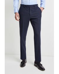 Ermenegildo Zegna Tailored Fit Blue Prince Of Wales Check Trousers