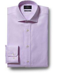 Moss Bros Skinny Fit Single Cuff Pink Egyptian Cotton Textured Shirt - Purple