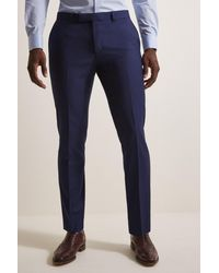 Moss London Slim Fit Blue Stretch Pants