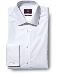 Moss Esq. Regular Fit White Double Cuff Non Iron Shirt