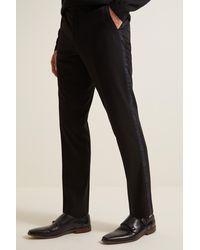 Moss London Slim Fit Black With Tartan Taping Desswear Trousers