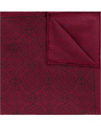 Hardy Amies - Burgundy & Navy Mosaic Silk Pocket Square - Lyst