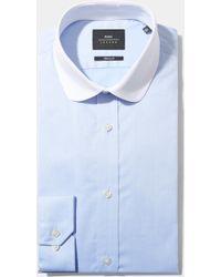 Moss Bros Extra Slim Fit Sky & White Single Cuff Contrast Round Collar Shirt - Blue