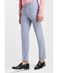 Moss Bros Slim Fit Soft Blue Texture Trousers