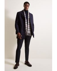 Moss London Slim Fit Navy Overcoat - Blue